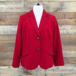 Talbots Aberdeen Red Wool Blend Lined Blazer